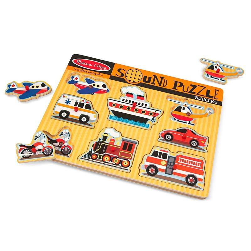Melissa and Doug - Puzzle lemn cu sunete Vehicule