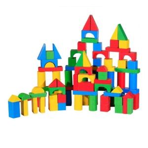 Cuburi constructie din lemn colorate (100 buc.) (3509-FA)