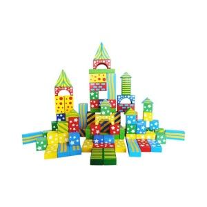 Cuburi constructie din lemn cu modele (100 buc.) (3510-FA)