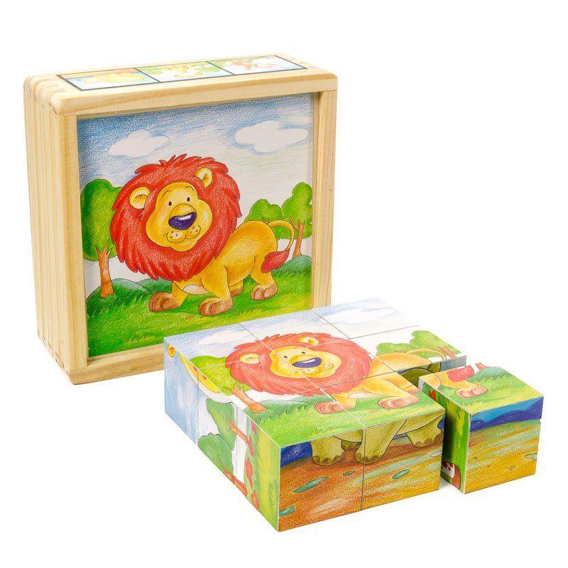 Cuburi din lemn animale salbatice (Mesekocka 9 db-os oroszlanos) (0131-FA)