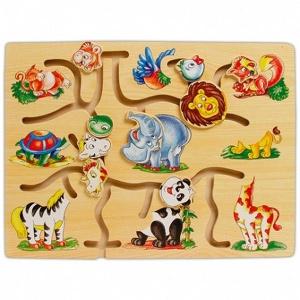 Joc din lemn labirint Animale (0088)