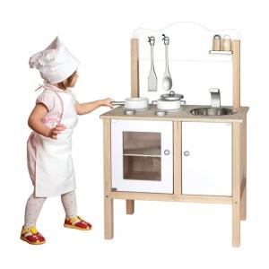 Bucatarie din lemn pentru copii (Alb) (3453FA-DS)