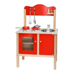 Bucatarie din lemn pentru copii (Rosu) (3762FA-DS)
