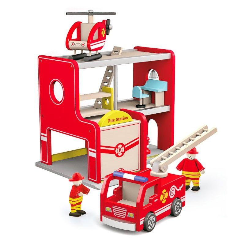Statie de pompieri din lemn cu elicopter si pompieri (FA-4246-DS)