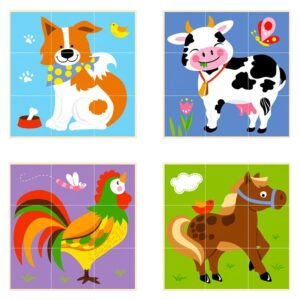 Cuburi montessori Animale de ferma (4249-VI)