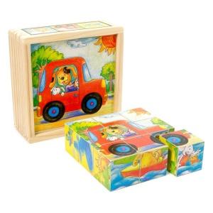 Cuburi din lemn - Masinute 9 buc. (0130-FA)
