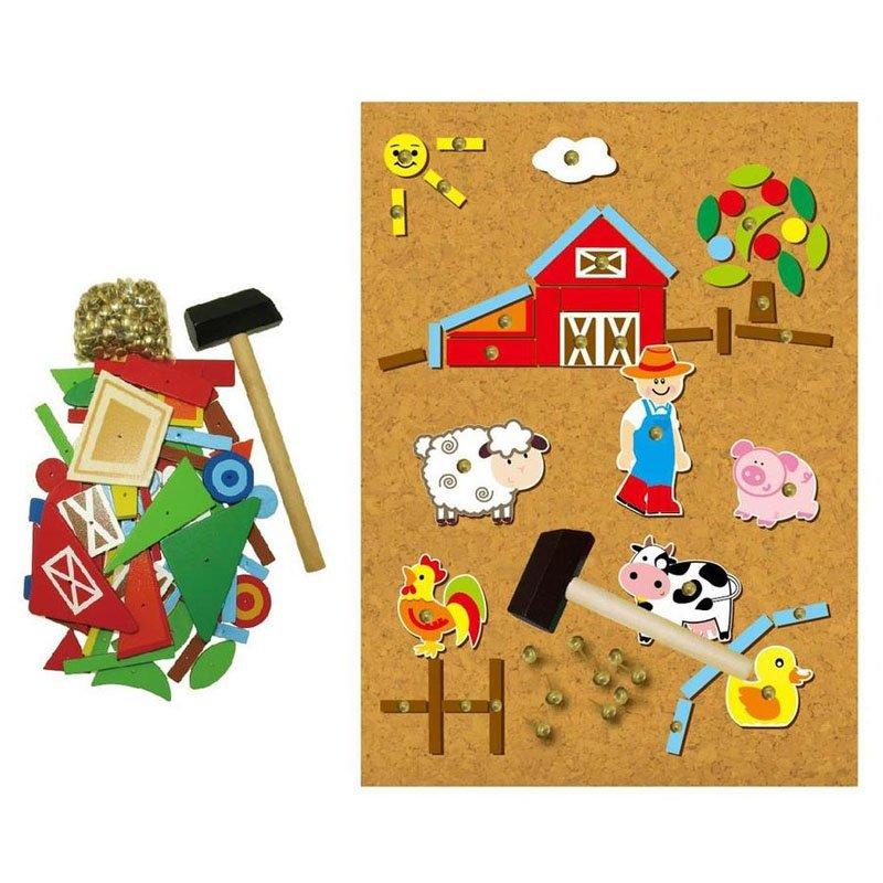 Set mozaic din lemn in cutiuta (ferma) (4464-FA)