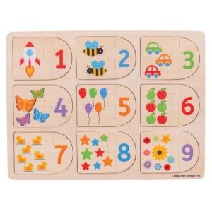 Puzzle de potrivire Cifre - din lemn (BJ535)