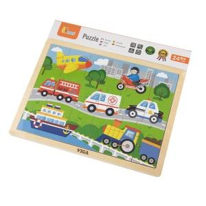 Puzzle din lemn 24 buc. Vehicule (4658-VI)