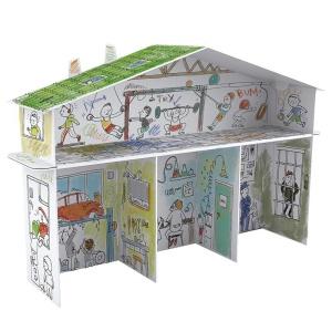 Casuta de colorat XXL cu 4 camere - Boys House (MON-9856)