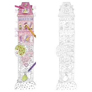 Metru de perete de colorat din carton - Castelul printeselor (MON-5978)