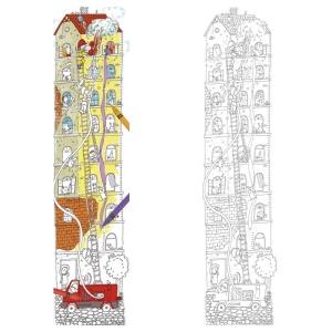 Metru de perete de colorat din carton - Echipa de pompieri (MON-5800)