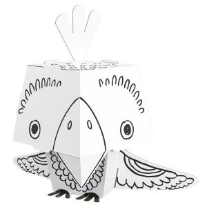 Papagal de colorat 3D din carton pliabil (MON-0180)