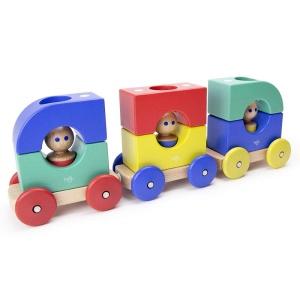 Tegu - Tramvai Rainbow set din lemn magnetic - 12 piese (TRM-RBW-801T)