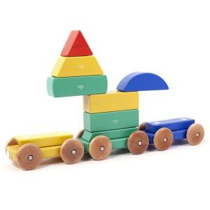 Tegu - Trenuletul Rainbow set din lemn magnetic - 9 piese (TRA-RBW-801T)