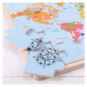 Puzzle din lemn Harta lumii (BJ098)