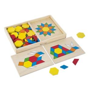 Tangram din lemn cu sabloane si forme geometrice (MD0029)